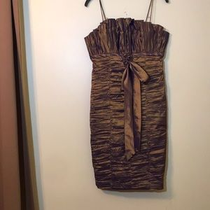 CACHET cocktail bronze ruched dress